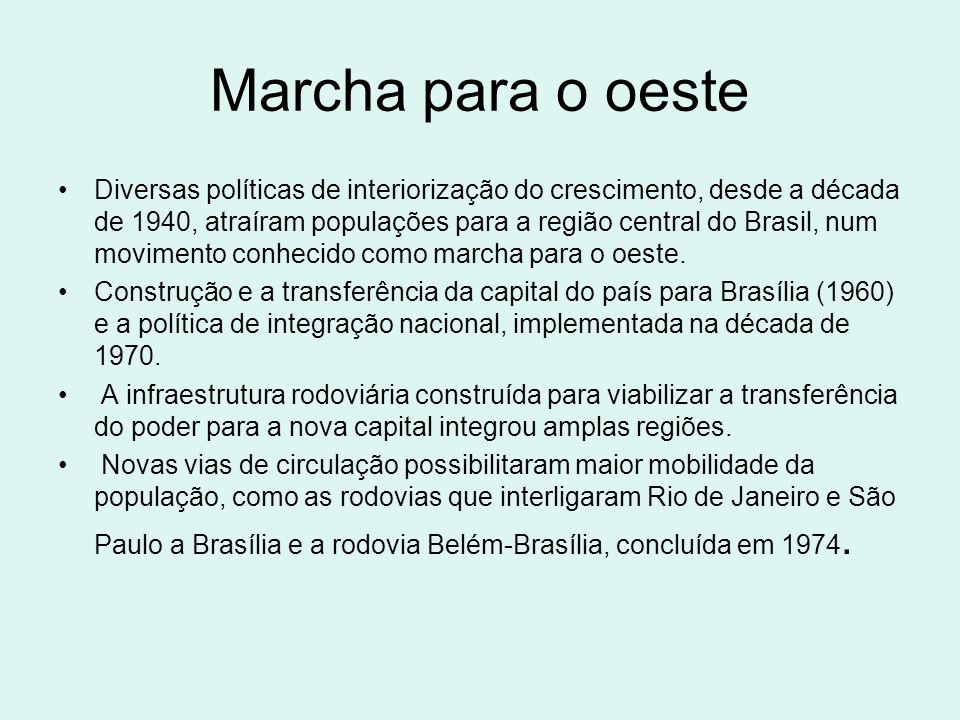 Marcha para o oeste Diversas políticas de interiorização do crescimento, desde a década de 1940, atraíram populações para a região central do Brasil,