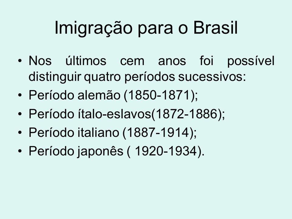 Imigração para o Brasil Nos últimos cem anos foi possível distinguir quatro períodos sucessivos: Período alemão (1850-1871); Período ítalo-eslavos(187