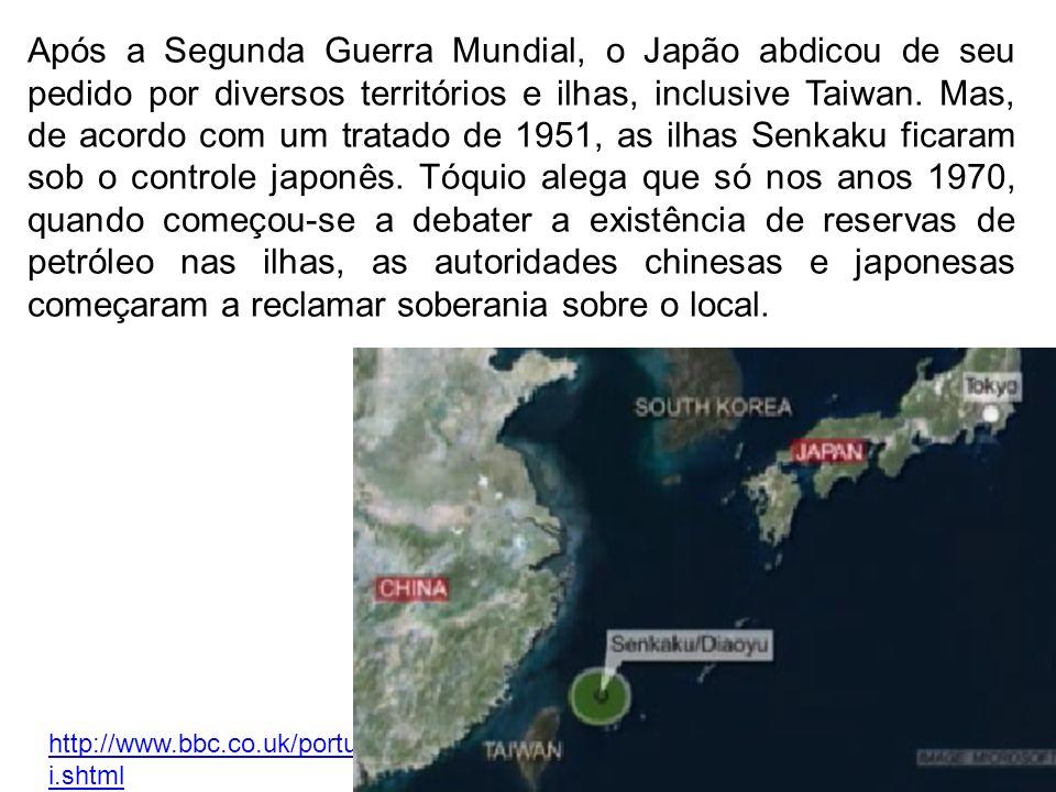 http://g1.globo.com/mundo/noticia/2012/09/china-pede-eua-que-nao-tomem-partido-em-conflito-com-japao.html O governo chinês pediu nesta segunda-feira (17set12) ao secretário de Defesa dos Estados Unidos, Leon Panetta - que está iniciando uma visita oficial à China - que Washington se mantenha afastado do conflito diplomático entre Pequim e Tóquio em torno das ilhas Senkaku/Diaoyu.