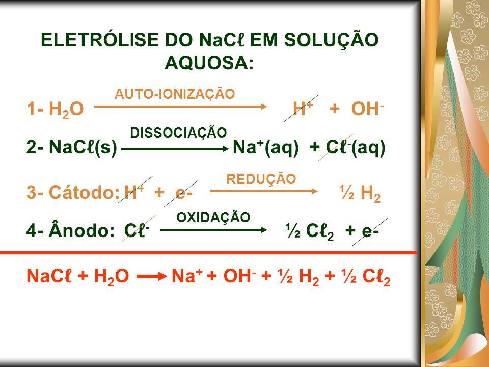 ELETRÓLISE DO NaC EM SOLUÇÃO AQUOSA: 1- H 2 O H + + OH - 2- NaC (s) Na + (aq) + C - (aq) 3- Cátodo:H + + e- ½ H 2 4- Ânodo:C - ½ C 2 + e- NaC + H 2 O