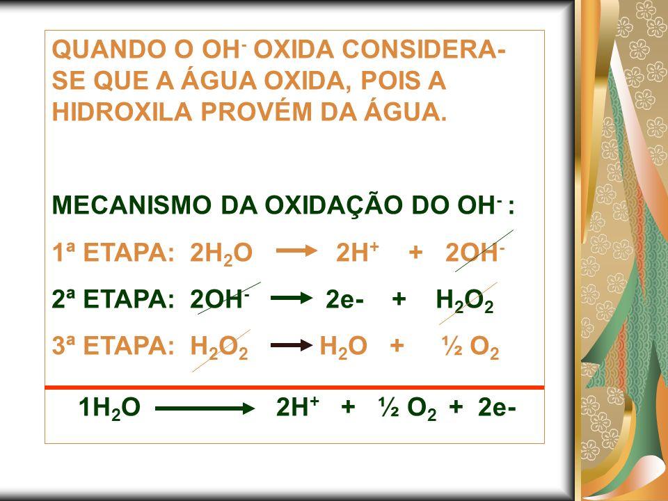 QUANDO O OH - OXIDA CONSIDERA- SE QUE A ÁGUA OXIDA, POIS A HIDROXILA PROVÉM DA ÁGUA. MECANISMO DA OXIDAÇÃO DO OH - : 1ª ETAPA: 2H 2 O 2H + + 2OH - 2ª