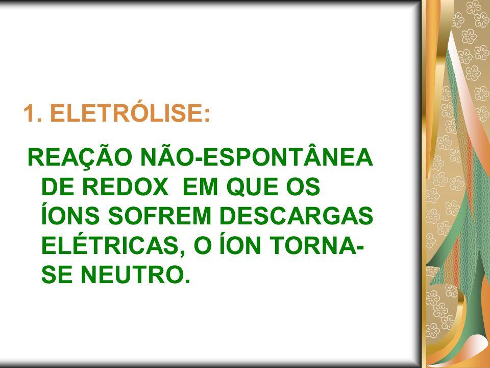 1. ELETRÓLISE: REAÇÃO NÃO-ESPONTÂNEA DE REDOX EM QUE OS ÍONS SOFREM DESCARGAS ELÉTRICAS, O ÍON TORNA- SE NEUTRO.