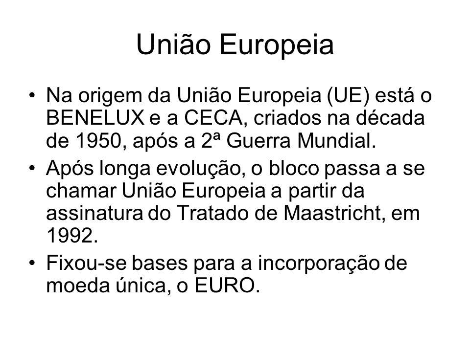 União Europeia Na origem da União Europeia (UE) está o BENELUX e a CECA, criados na década de 1950, após a 2ª Guerra Mundial. Após longa evolução, o b