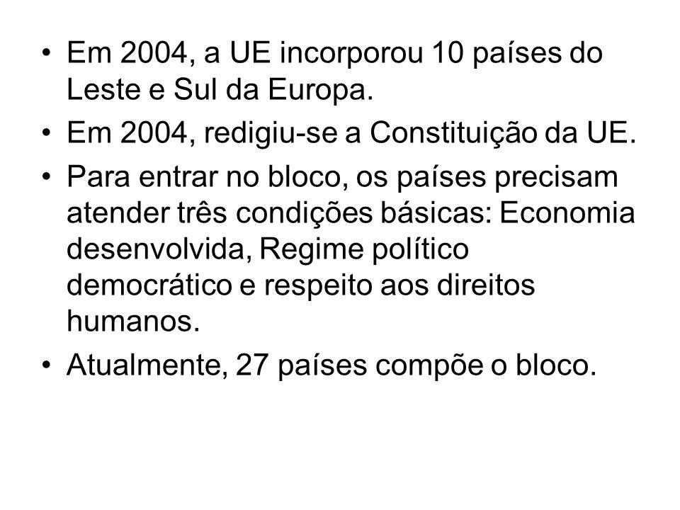 Em 2004, a UE incorporou 10 países do Leste e Sul da Europa. Em 2004, redigiu-se a Constituição da UE. Para entrar no bloco, os países precisam atende