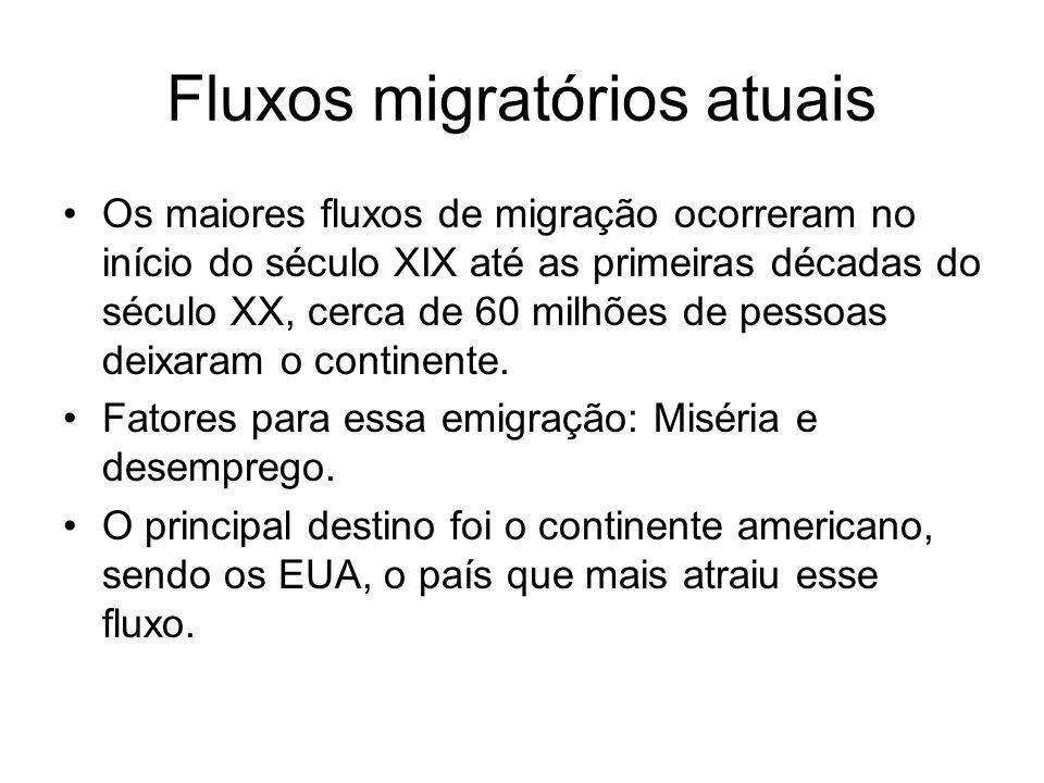 Fluxos migratórios atuais Os maiores fluxos de migração ocorreram no início do século XIX até as primeiras décadas do século XX, cerca de 60 milhões d