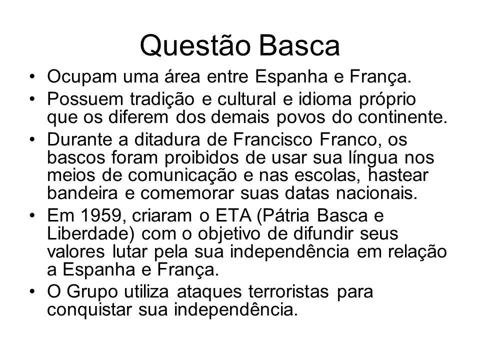 Questão Basca Ocupam uma área entre Espanha e França. Possuem tradição e cultural e idioma próprio que os diferem dos demais povos do continente. Dura