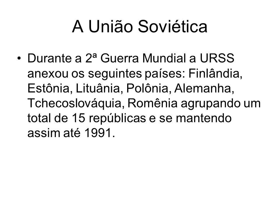 A União Soviética Durante a 2ª Guerra Mundial a URSS anexou os seguintes países: Finlândia, Estônia, Lituânia, Polônia, Alemanha, Tchecoslováquia, Rom