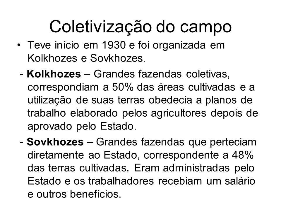 Coletivização do campo Teve início em 1930 e foi organizada em Kolkhozes e Sovkhozes. - Kolkhozes – Grandes fazendas coletivas, correspondiam a 50% da