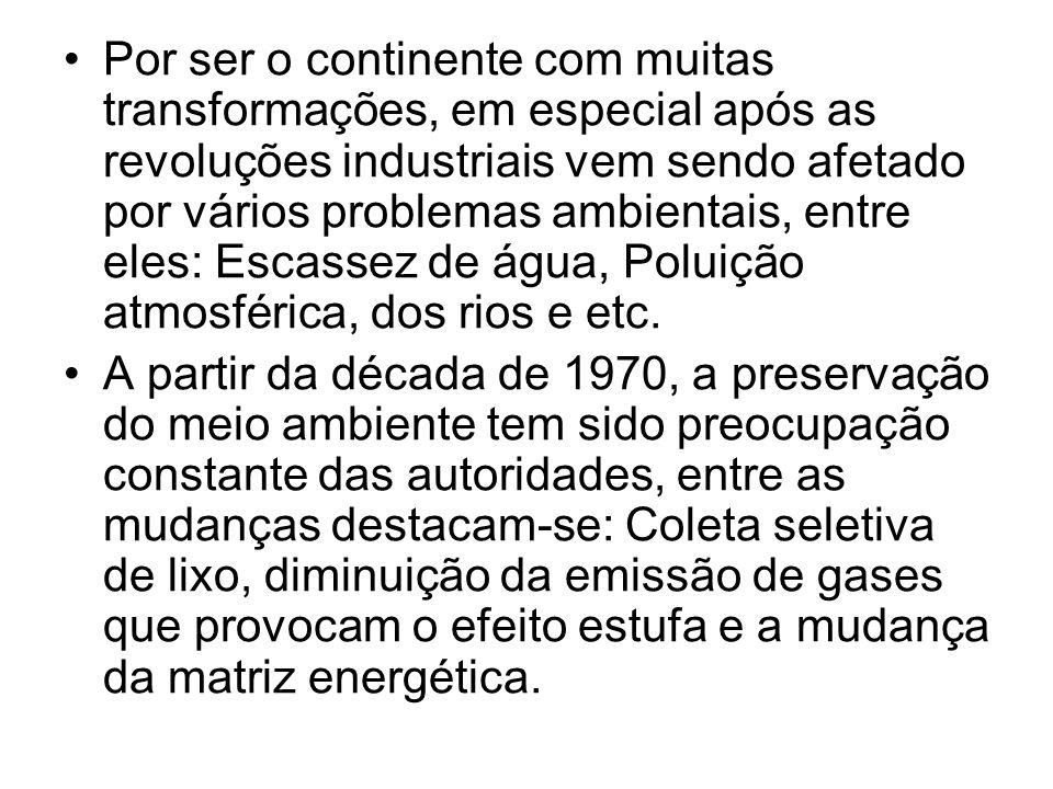 Por ser o continente com muitas transformações, em especial após as revoluções industriais vem sendo afetado por vários problemas ambientais, entre el