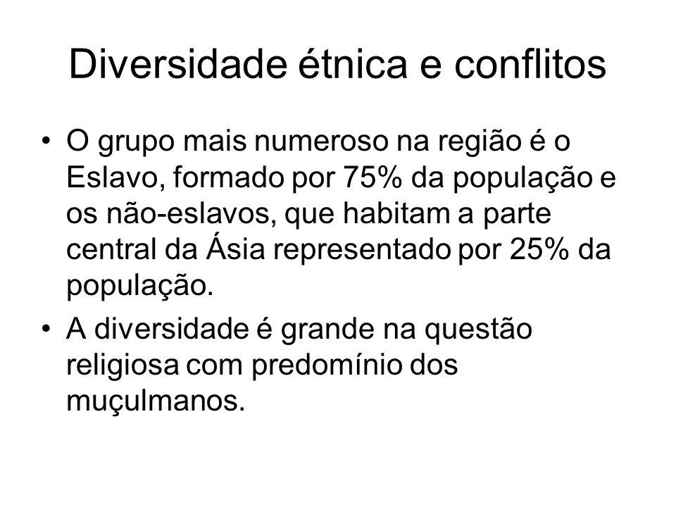 Diversidade étnica e conflitos O grupo mais numeroso na região é o Eslavo, formado por 75% da população e os não-eslavos, que habitam a parte central