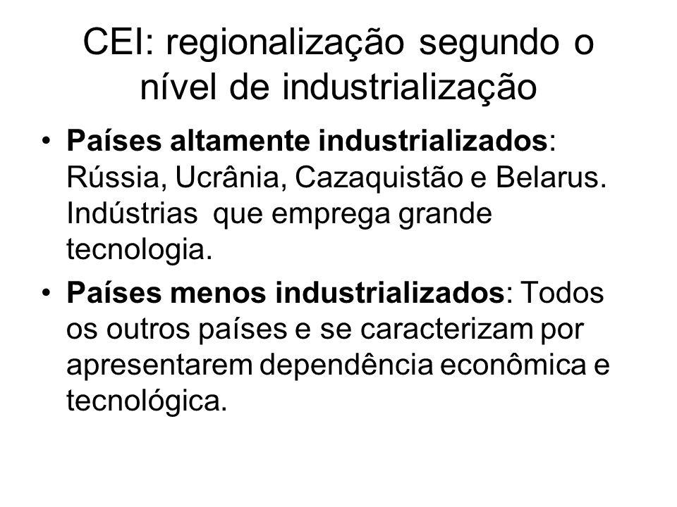 CEI: regionalização segundo o nível de industrialização Países altamente industrializados: Rússia, Ucrânia, Cazaquistão e Belarus. Indústrias que empr
