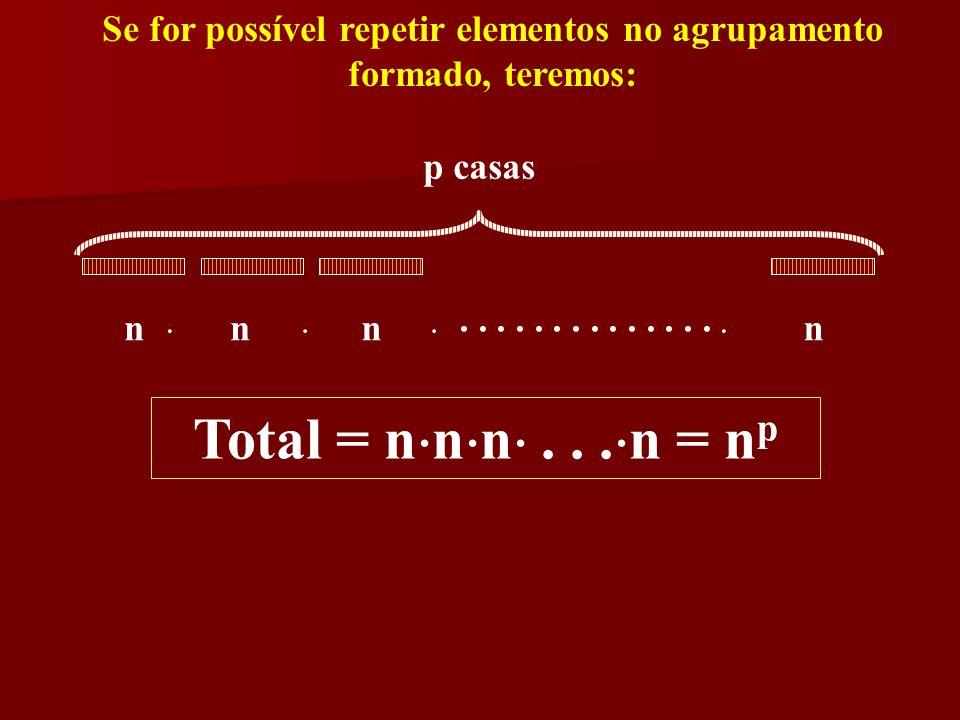 Se for possível repetir elementos no agrupamento formado, teremos: p casas nnnn....... Total = n n n... n = npnp