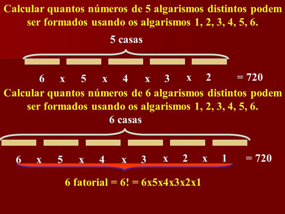Calcular quantos números de 5 algarismos distintos podem ser formados usando os algarismos 1, 2, 3, 4, 5, 6. 6543xxx 5 casas 2x= 720 Calcular quantos