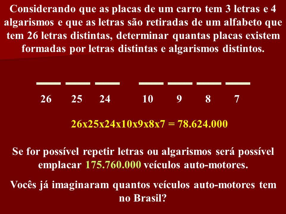 Considerando que as placas de um carro tem 3 letras e 4 algarismos e que as letras são retiradas de um alfabeto que tem 26 letras distintas, determina
