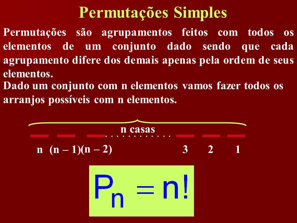 Permutações Simples Permutações são agrupamentos feitos com todos os elementos de um conjunto dado sendo que cada agrupamento difere dos demais apenas