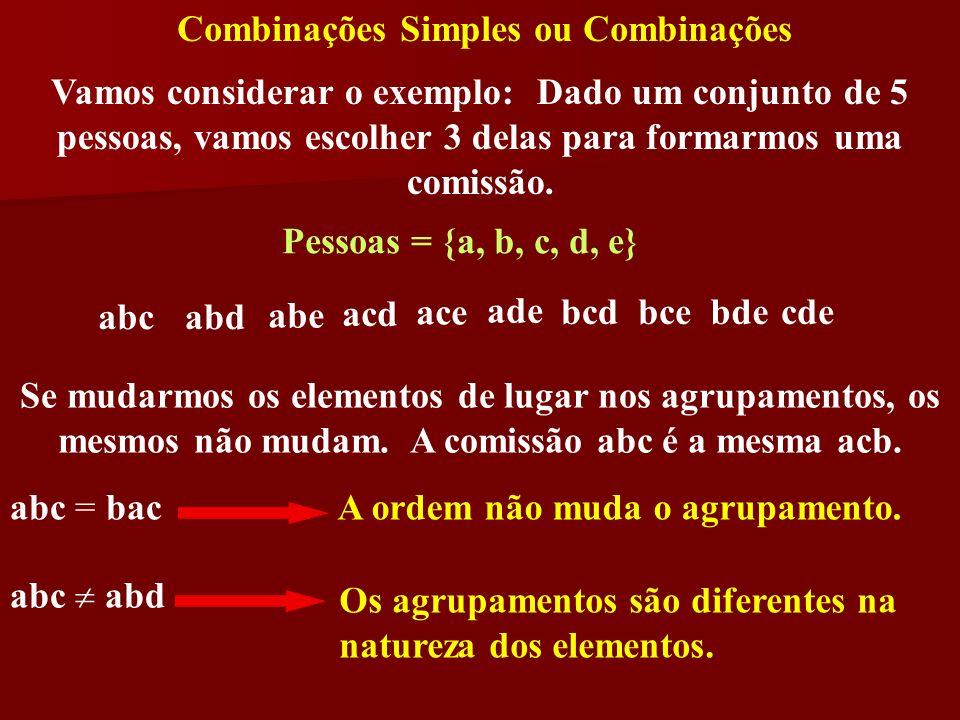 Vamos considerar o exemplo: Dado um conjunto de 5 pessoas, vamos escolher 3 delas para formarmos uma comissão. Pessoas = {a, b, c, d, e} abcabd abe ac