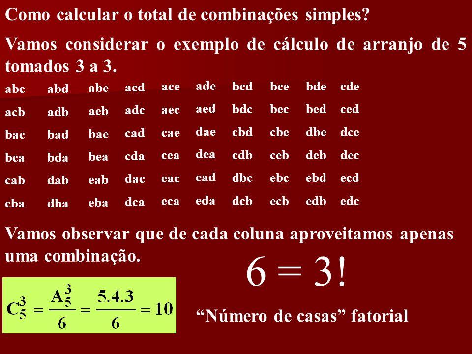 Como calcular o total de combinações simples? Vamos considerar o exemplo de cálculo de arranjo de 5 tomados 3 a 3. abc acb bac bca cab cba abd adb bad