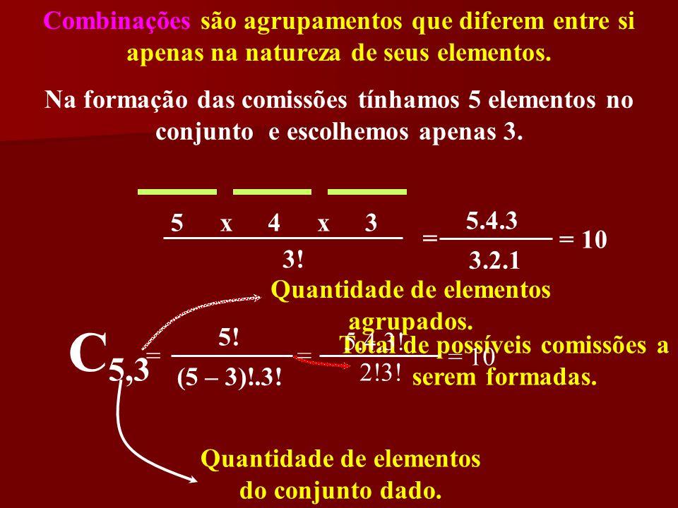 Combinações são agrupamentos que diferem entre si apenas na natureza de seus elementos. Na formação das comissões tínhamos 5 elementos no conjunto e e