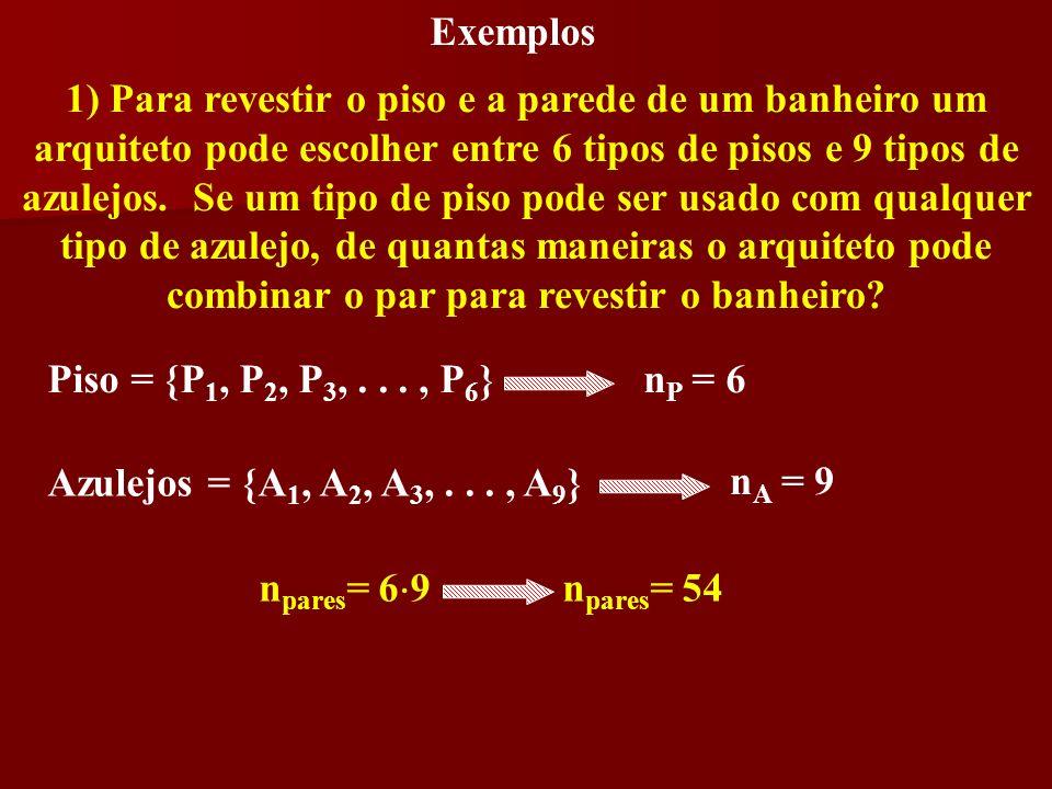 Exemplos 1) Para revestir o piso e a parede de um banheiro um arquiteto pode escolher entre 6 tipos de pisos e 9 tipos de azulejos. Se um tipo de piso