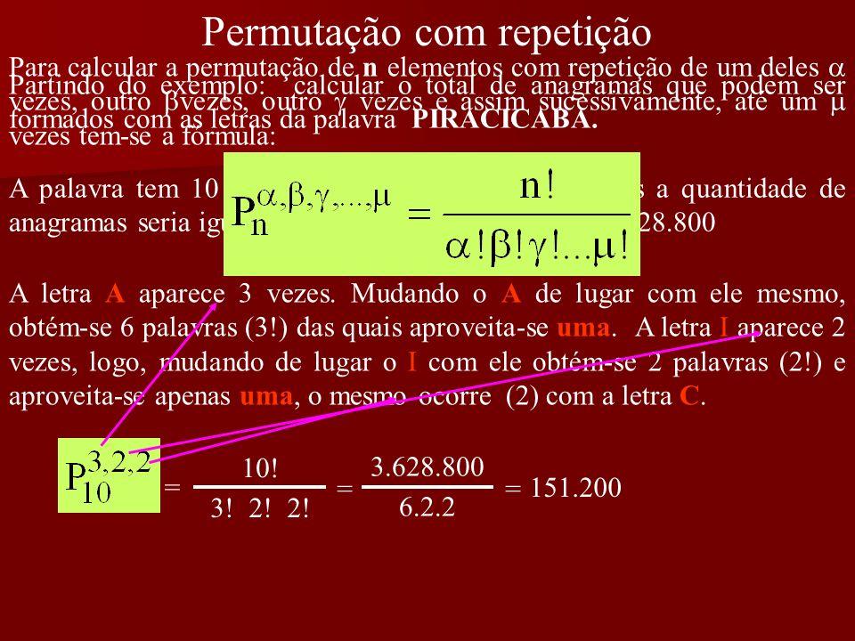 Permutação com repetição Partindo do exemplo: calcular o total de anagramas que podem ser formados com as letras da palavra PIRACICABA. A palavra tem