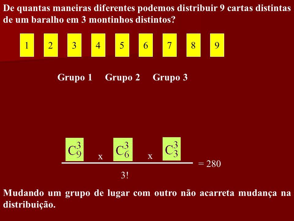 De quantas maneiras diferentes podemos distribuir 9 cartas distintas de um baralho em 3 montinhos distintos? 123456789 Grupo 1Grupo 2Grupo 3 3! x x =