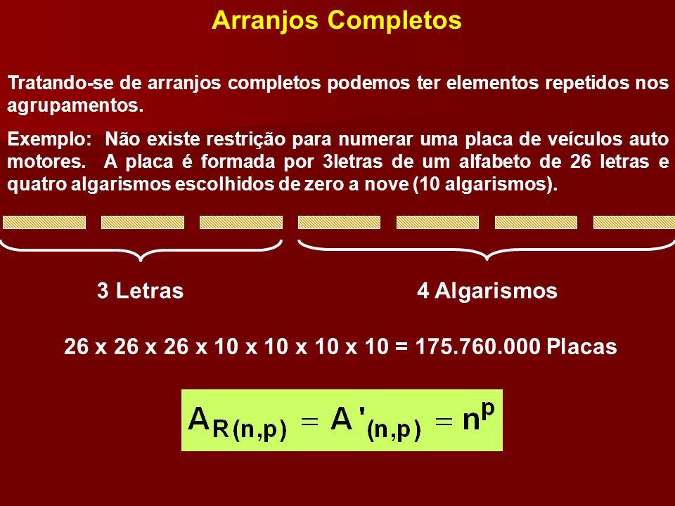 Arranjos Completos Tratando-se de arranjos completos podemos ter elementos repetidos nos agrupamentos. Exemplo: Não existe restrição para numerar uma