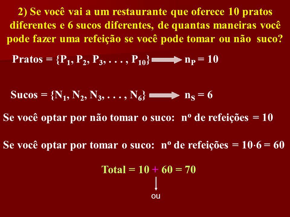 2) Se você vai a um restaurante que oferece 10 pratos diferentes e 6 sucos diferentes, de quantas maneiras você pode fazer uma refeição se você pode t