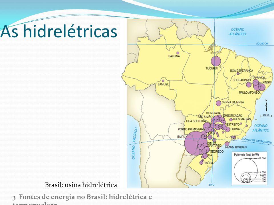 As hidrelétricas no Brasil 3 Fontes de energia no Brasil: hidrelétrica e termonuclear Brasil: usina hidrelétrica