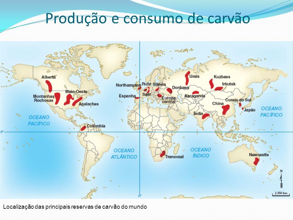 Produção e consumo de carvão Cerca de 75% do carvão extraído no mundo origina-se de minas subterrâneas, que são escavadas ao longo dos veios carboníferos.