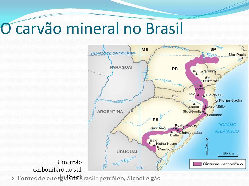 O carvão mineral no Brasil Cinturão carbonífero do sul do Brasil 2 Fontes de energia no Brasil: petróleo, álcool e gás