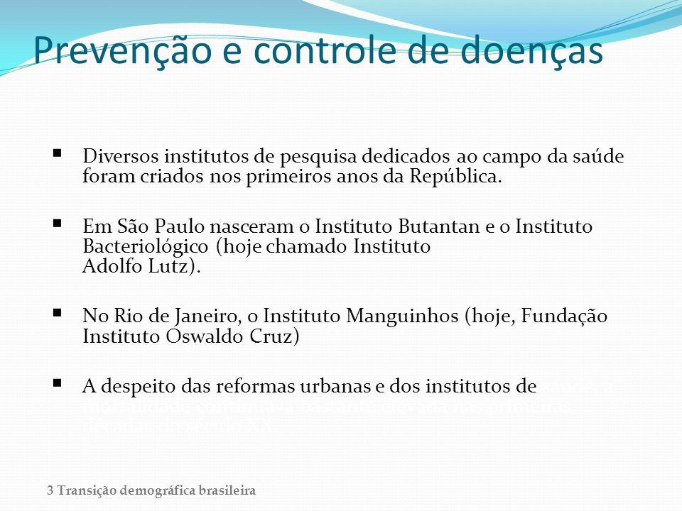 Prevenção e controle de doenças Diversos institutos de pesquisa dedicados ao campo da saúde foram criados nos primeiros anos da República. Em São Paul