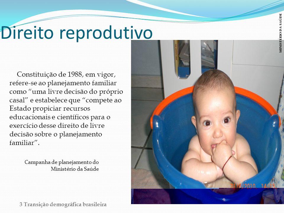 Direito reprodutivo A Constituição de 1988, em vigor, refere-se ao planejamento familiar como uma livre decisão do próprio casal e estabelece que comp