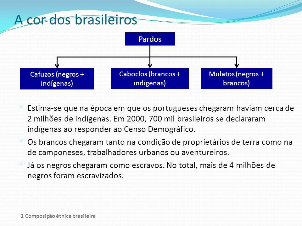 A cor dos brasileiros Pardos Cafuzos (negros + indígenas) Caboclos (brancos + indígenas) Mulatos (negros + brancos) Estima-se que na época em que os p