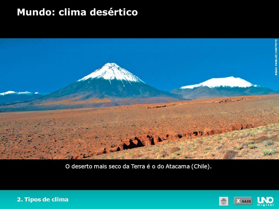 X SAIR 2. Tipos de clima Mundo: clima desértico O deserto mais seco da Terra é o do Atacama (Chile). BRIAN PARSLEY/NEXTFOTO