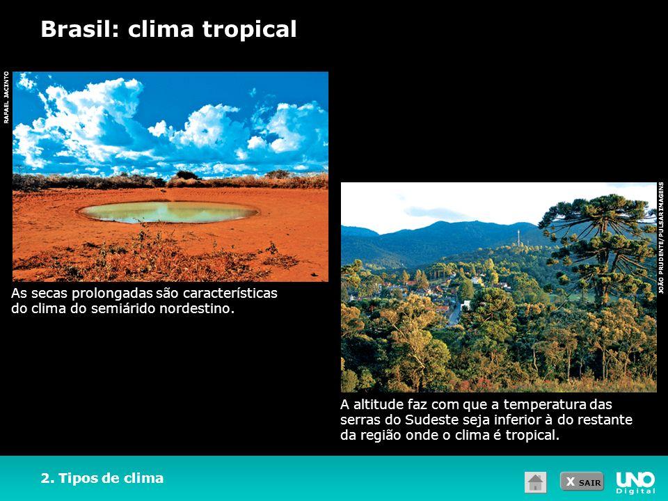 X SAIR RAFAEL JACINTO 2. Tipos de clima Brasil: clima tropical As secas prolongadas são características do clima do semiárido nordestino. A altitude f
