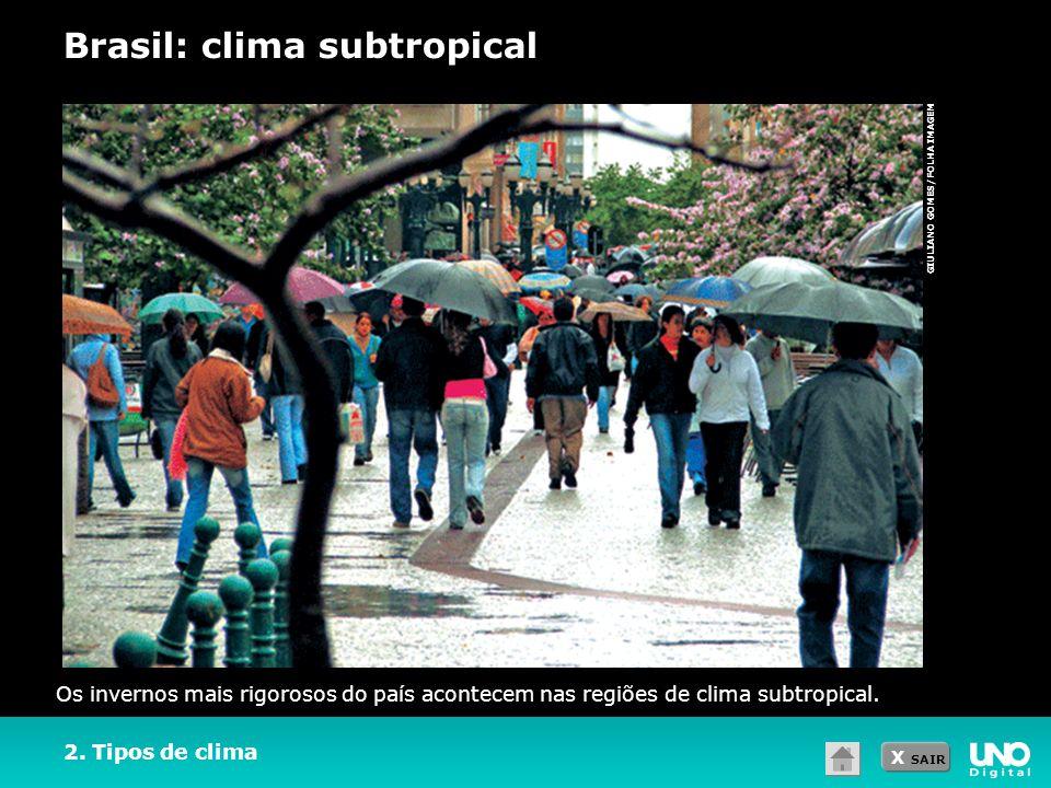 X SAIR GIULIANO GOMES/FOLHA IMAGEM 2. Tipos de clima Brasil: clima subtropical Os invernos mais rigorosos do país acontecem nas regiões de clima subtr