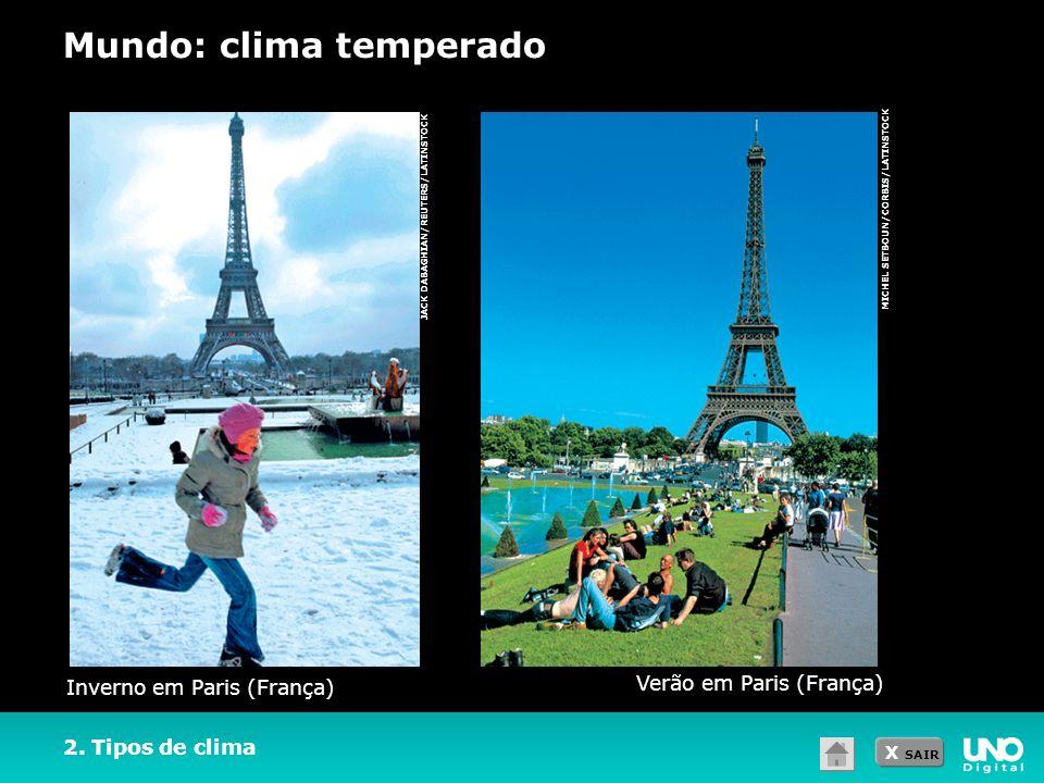 X SAIR MICHEL SETBOUN/CORBIS/LATINSTOCK JACK DABAGHIAN/REUTERS/LATINSTOCK 2. Tipos de clima Mundo: clima temperado Inverno em Paris (França) Verão em