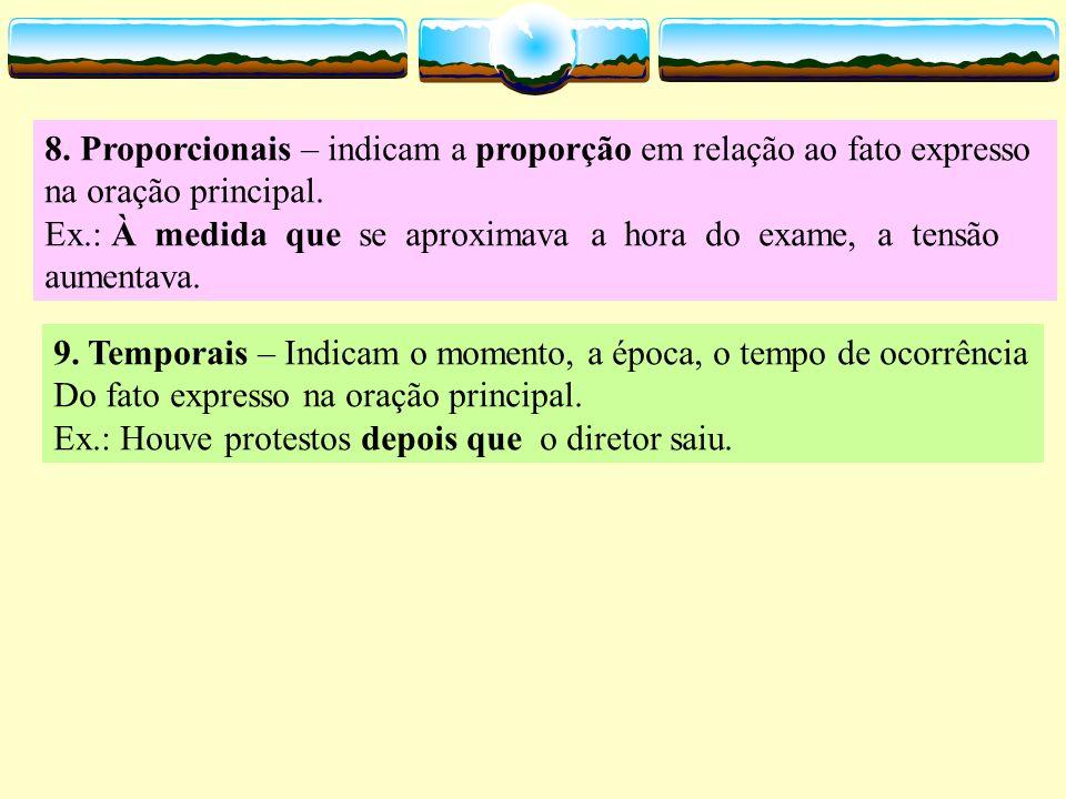 4. Condicionais – expressam uma hipótese ou condição para que ocorra o fato expresso na oração principal. Ex.: Irei à praia logo cedo, se não chover.