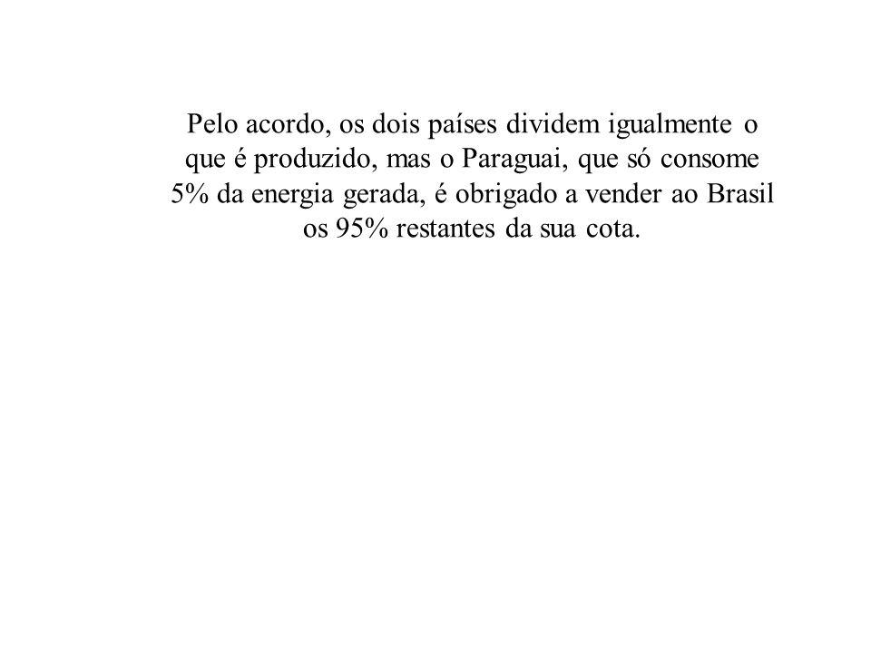 Pelo acordo, os dois países dividem igualmente o que é produzido, mas o Paraguai, que só consome 5% da energia gerada, é obrigado a vender ao Brasil o