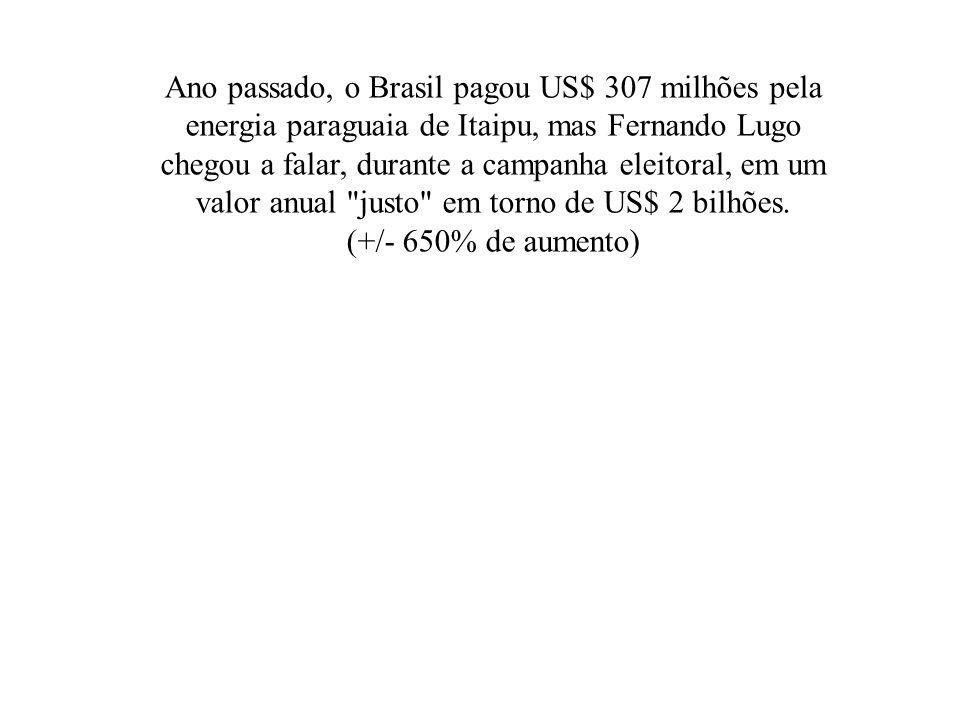 Ano passado, o Brasil pagou US$ 307 milhões pela energia paraguaia de Itaipu, mas Fernando Lugo chegou a falar, durante a campanha eleitoral, em um va
