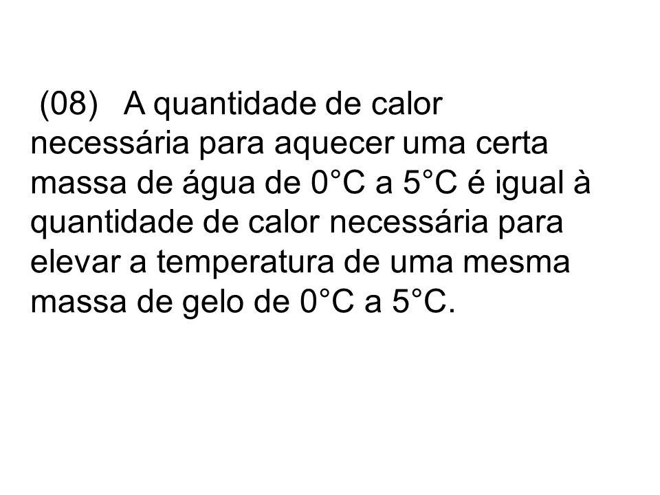 (08) A quantidade de calor necessária para aquecer uma certa massa de água de 0°C a 5°C é igual à quantidade de calor necessária para elevar a tempera