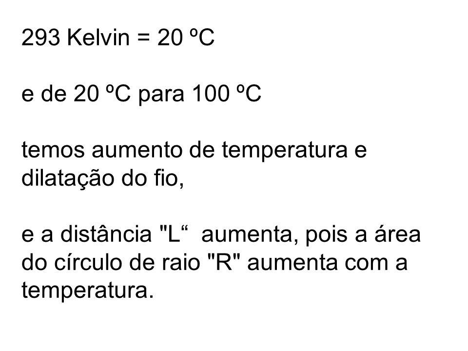 293 Kelvin = 20 ºC e de 20 ºC para 100 ºC temos aumento de temperatura e dilatação do fio, e a distância