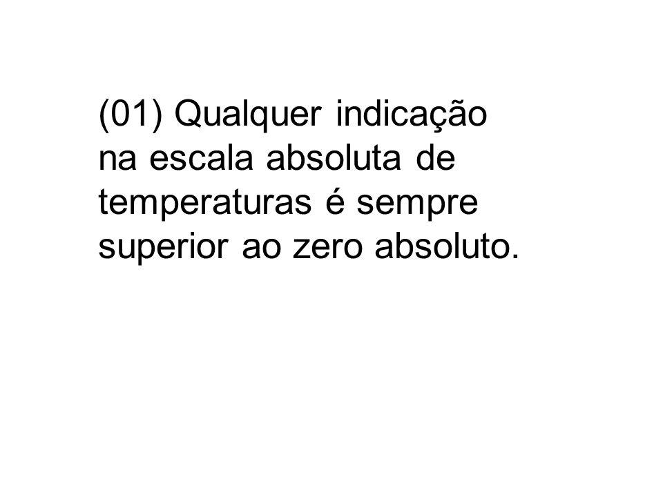 VERDADEIRO O zero absoluto, ou zero Kelvin (0 K), corresponde à temperatura de -273,15 °C ou -459.69 °F O zero absoluto é um conceito no qual um corpo não conteria energia alguma