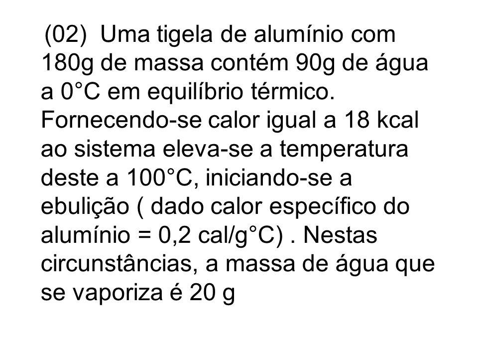 (02) Uma tigela de alumínio com 180g de massa contém 90g de água a 0°C em equilíbrio térmico. Fornecendo-se calor igual a 18 kcal ao sistema eleva-se