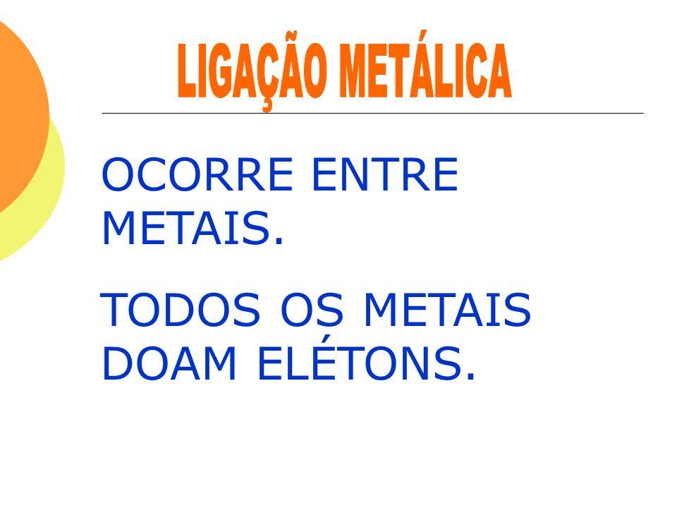 OCORRE ENTRE METAIS. TODOS OS METAIS DOAM ELÉTONS.
