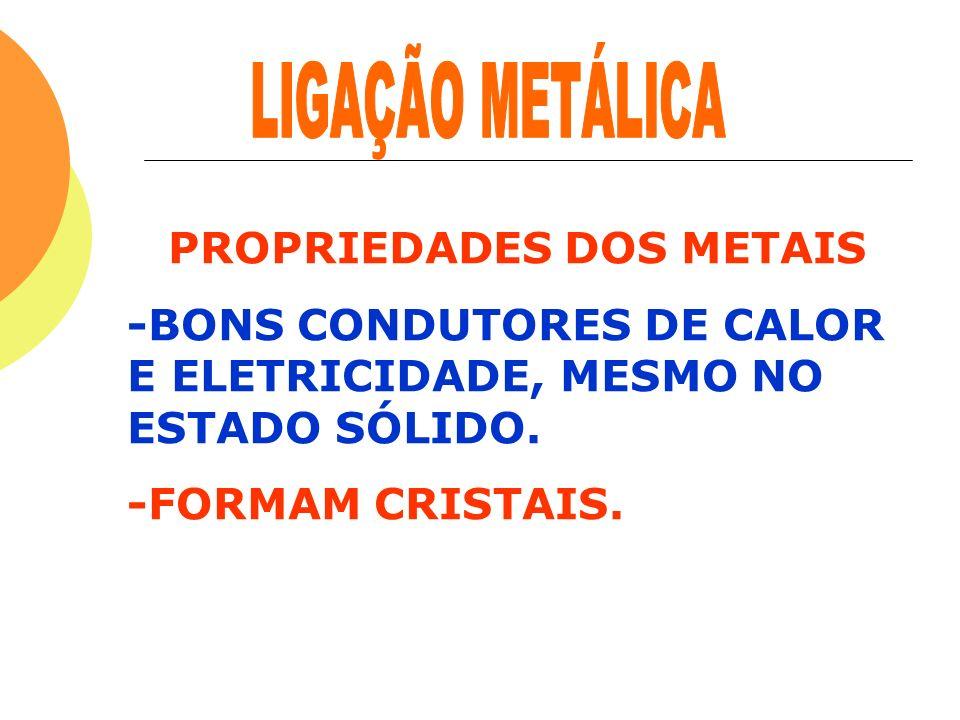 PROPRIEDADES DOS METAIS -BONS CONDUTORES DE CALOR E ELETRICIDADE, MESMO NO ESTADO SÓLIDO. -FORMAM CRISTAIS.