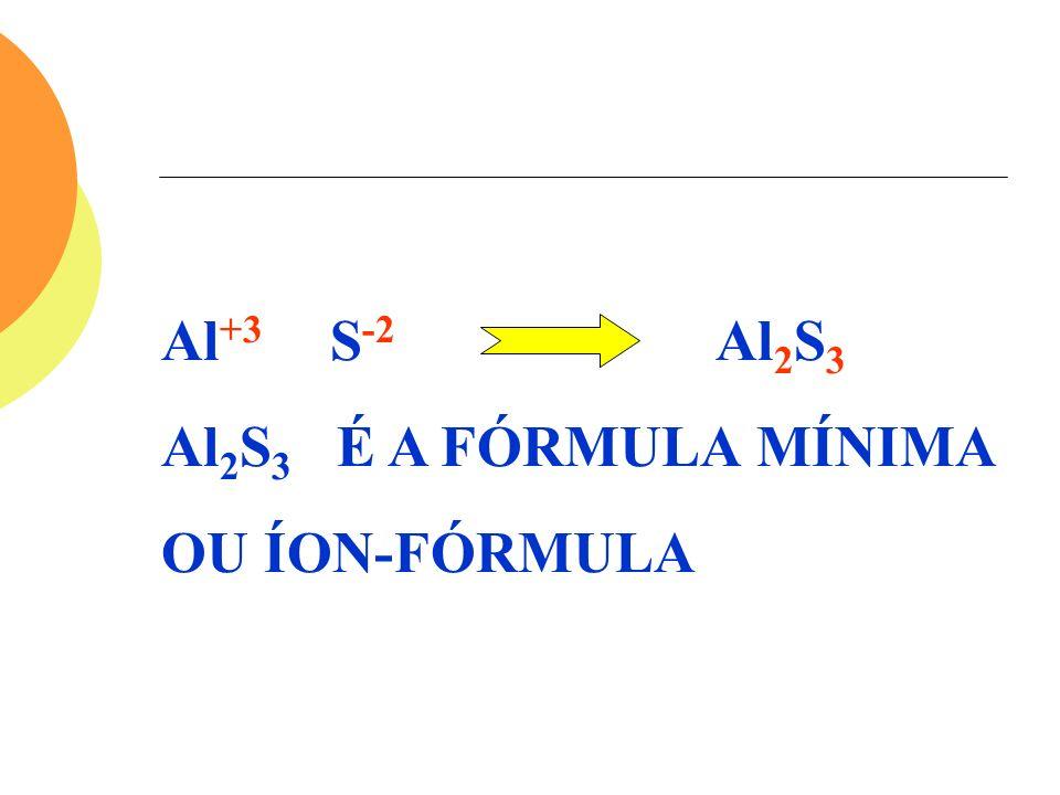 Al +3 S -2 Al 2 S 3 Al 2 S 3 É A FÓRMULA MÍNIMA OU ÍON-FÓRMULA