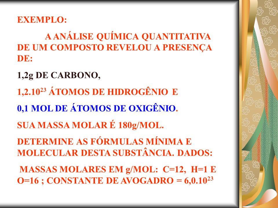 EXEMPLO: A ANÁLISE QUÍMICA QUANTITATIVA DE UM COMPOSTO REVELOU A PRESENÇA DE: 1,2g DE CARBONO, 1,2.10 23 ÁTOMOS DE HIDROGÊNIO E 0,1 MOL DE ÁTOMOS DE OXIGÊNIO.