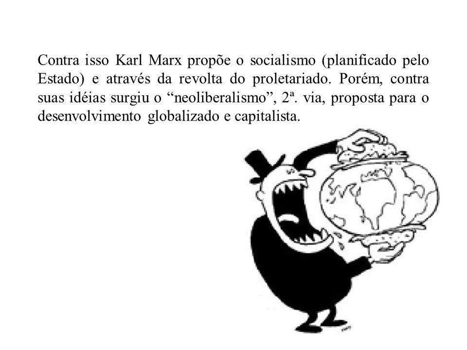 Contra isso Karl Marx propõe o socialismo (planificado pelo Estado) e através da revolta do proletariado. Porém, contra suas idéias surgiu o neolibera