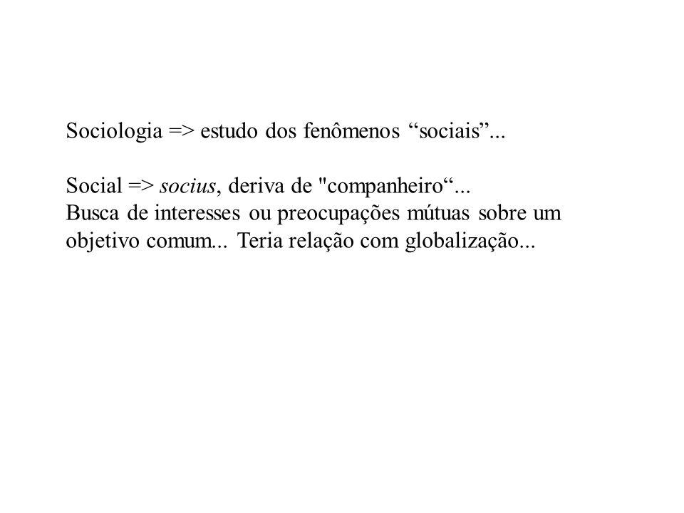 Sociologia => estudo dos fenômenos sociais... Social => socius, deriva de